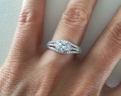 14k Triple Row Engagement Ring, Cubic Zirconia Halo Ring, 0.5ct Split Shank Engagement Ring, 14k Gold Triple Band Pave Halo, 14k Solitaire