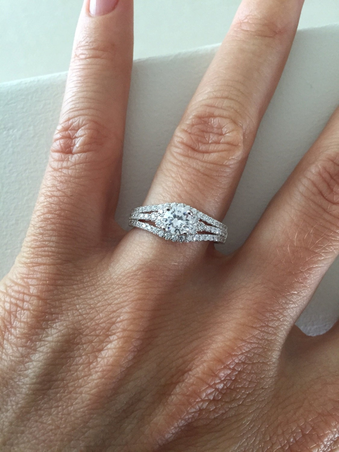 14k Triple Row Engagement Ring Cubic Zirconia Halo Ring