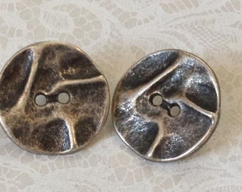UPCYCLED BUTTON EARRINGS~Wavy Metal Buttons Converted into Earrings~Unique Vintage Button Jewelry~Soldered Posts~Hand Crafted!
