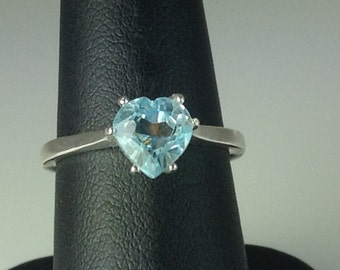 Heart Shaped Blue Topaz Sterling Silver Ring