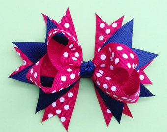 Red and Blue Polka Dot Stacked Boutique Hair Bow