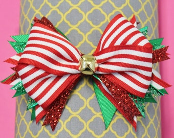 Christmas Stacked Hair Bow - Red and Green Stacked Hair Bow - Holiday Stacked Hair Bow - Bell Stacked Hair Bow