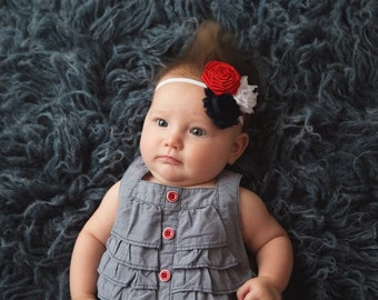 Red White and Blue Flower Headband - 3 Colored Flower Baby Headband - 4th of July Headband - Forth of July Headband