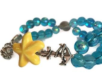 Blue Beaded Bracelet - Blue Bracelet - Blue Glass Bracelet - Blue Charm Bracelet