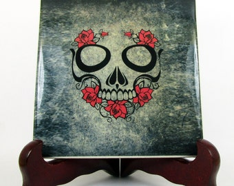 Sugar Skull with red roses wall hanging ceramic tile Day of the Dead Calavera Mexicana Dia de los Muertos gothic gift idea