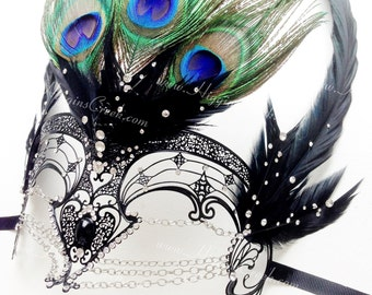 Metal Masquerade Mask with Chains, Masquerade Mask, Venetian Metal Filigree Laser Cut Masquerade Mask w/ Rhinestones