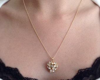 Rhinestone heart necklace gold heart pendant gold filled tiny chain, heart necklace charm, chain heart necklace, heart necklace pendant