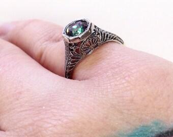 Rainbow Topaz Art Deco Filigree Edwardian Antique  Sterling Silver 925  Ring sz 7 *November Birthstone*