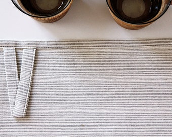 Striped kitchen towel - tea towel - off white cotton and natural linen modern Scandinavian design dish towel by Linenspace    0039