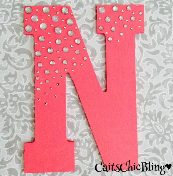 Decorative hand painted wooden rhinestone letter by for Wooden letters for crafts