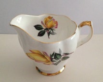 Queen Anne Bone China Creamer, Made in England, Yellow Rose, Gold Trim,