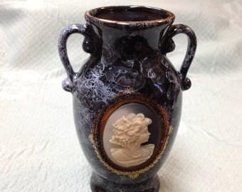 Cameo Art Pottery Vase, Art Pottery Vase, Cameo Vase, Urn Shaped Vase, Black Marbled Vase, Lady Cameo Vase, Gold Trimmed