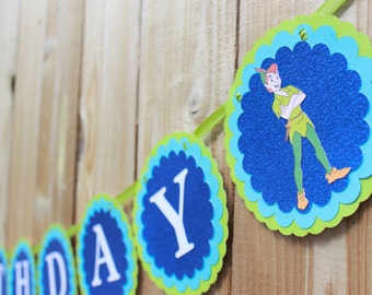 Peter Pan and Tinker Bell Happy Birthday banner