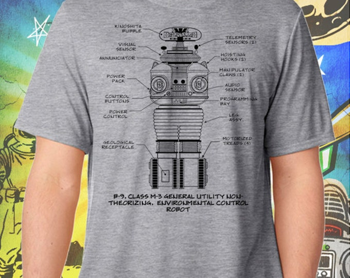Lost in Space Classic B-9 Robot Gray Men's T-Shirt