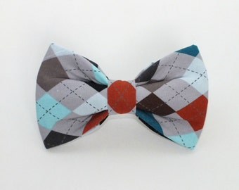 Gray Colorful Argyle Fabric bow tie, bow tie for dog/cat collars, pet bow tie, collar bow tie, wedding bow tie