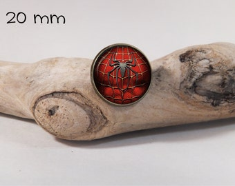 spiderman pin 20 mm diam. Glass dome on pin
