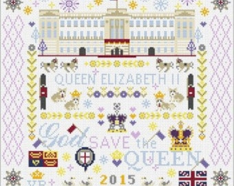 CROSS STITCH KIT God Save the Queen Sampler by Riverdrift House