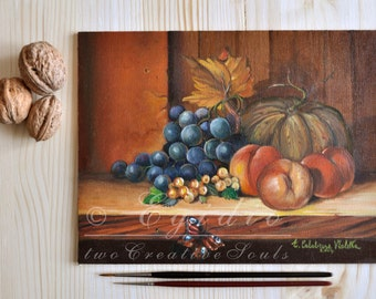 Autumn still life oil painting with pumpkin grapes berries and butterfly Fall arrangement painting fruits Warm colors