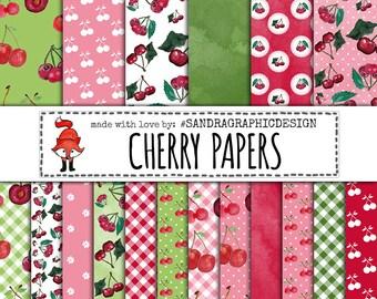 "Cherry digital paper ""CHERRY PAPERS"", cherries, fruit digital paper, gingham pattern, polka dot (1257)"
