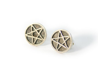 Sterling Silver Pentacle Pagan Pentagram Wicca Wiccan Occult earrings, Satan Statanic jewelry, witch craft, witchcraft, symbol, goth gothic