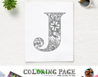 SALE Coloring Page Printable Alphabet With Floral Texture Instant Download Digital Art Pages Adult