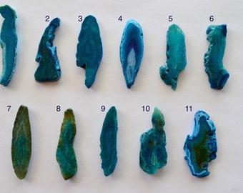 Bright Blue Agate Slice Pendant, Agate Slice Briolette, Large Agate Slice, Agate Geode Slice Pendant, Stone Pendant, Large Focal Bead (A)