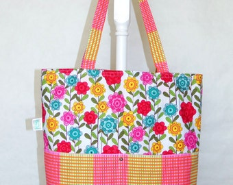 Reversable Four Pocket Market Tote Flowers and Striped Plaid Grocery Bag