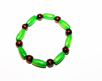 Green and Brown Wooden Beaded Bracelet