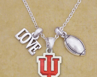 Indiana Hoosiers Iridescent Football Logo Necklace