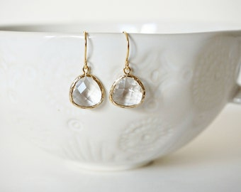 Clear Crystal and Gold Earrings | Bridesmaid Earrings | Wedding Jewelry