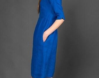Blue Summer Dress Linen - Womens Dresses - Flax - Natural Clothing - Dress Woman