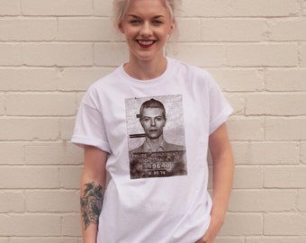 David Bowie Mugshot White T-Shirt