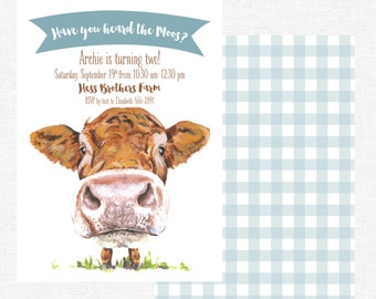 Have You Heard the Moos? Cow Barn Farm Birthday Party Boy Invitations-FREE SHIPPING or DIY printable