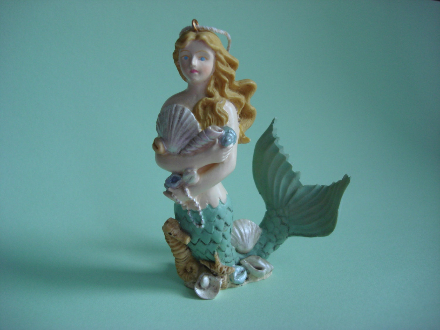 Vintage mermaid ornament home decor tree decoration ocean for Vintage ocean decor