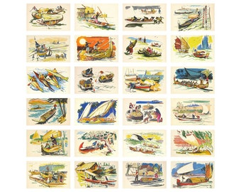Boats, Set of 24 Postcards, Boats of the peoples of the world, Sail, Boat, Pavlinov, Soviet Union Vintage Postcard, USSR, 1971, 1970s