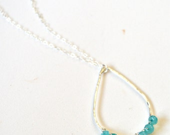 Beaded Teardrop Necklace, Wire Wrapped Pendant, Sterling Teardrop Necklace, Aqua Jade Necklace
