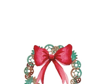 Steampunk Christmas Wreath - Card