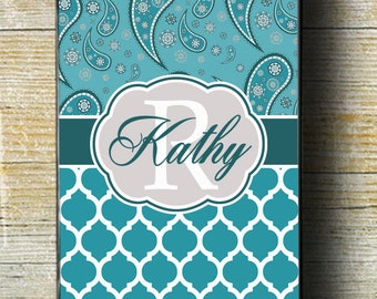 Paisley iPhone Case, Teal Quatrefoil iPhone 6 Plus Case, Teal iPhone 7 Case, Paisley iPhone 5 case, Monogram gift, Teal iphone, iphone teal