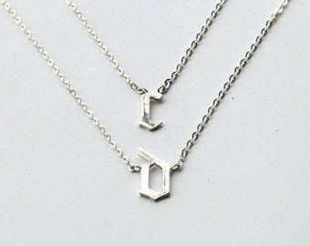 20% off Cara Delevingne Necklace Set - Gothic Initial Necklaces (Duo Set) - Gothic Letter Necklaces - JN26