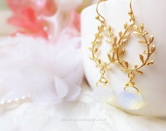 Grecian Earrings, Grecian Goddess Jewelry, Gold Bridal Earrings, Gold Branch Earrings, Gold Woodland Earrings Wedding Earrings Gold Earrings
