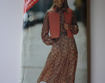 See & Sew 3536 UNCUT pattern Misses Vest and Dress - 1980s Fashion. - Butterick 3536
