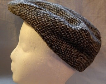 Vintage Driving Cap or Newsboy Cap - Black Tweed, Union Made, Small