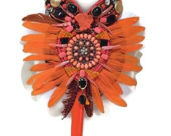 O FOR ORANGE feather fringe huge super statement statement bib collage necklace