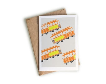 Tram Art Card, A6 Size, Transport Themed Artwork, Orange and Yellow, Bright Note Card, Illustrated Greeting Card, Blank Inside, Retro Style