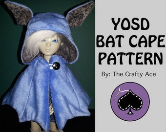 YoSD BJD Sewing Pattern PDF: Bat Cape -Advanced Beginner- Tutorial included. Easy to use