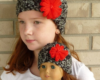 Matching Girl & Doll Hat Set--Black/Grey with Red Flower
