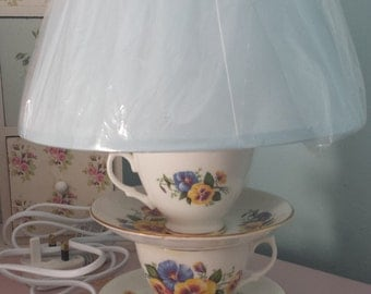 Teacup table lamp, home lighting, cottage chic lighting design, vintage tea cup light, bespoke lighting, vintage home decor.