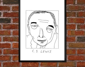 Badly Drawn CS Lewis - Literary Poster - *** BUY 4, get a 5th FREE***