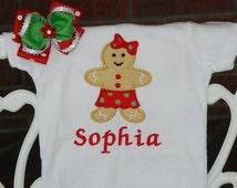 Baby Girl Gingerbread Christmas Bodysuit and Hair Bow! Christmas outfit for baby girls/ Baby Girl First Christmas Outfit/Gingerbread Outfit