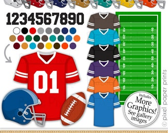 Football clipart - Digital Clip Art - Football helmet and jersey - Personal and commercial use